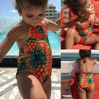 Wholesale baby girl animal print bikini resale online - One Piece Swimsuit Pineapple Flamingo Print Baby Girl Bikini New Kids Swimsuit Baby Swimwear Bathing Suit Beachwear One piece Bikinis Gift