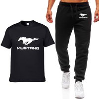 ingrosso auto hip hop-Moda estate uomo magliette Mustang auto logo stampato hip hop casual in cotone manica corta t-shirt di alta qualità + pantaloni tuta abbigliamento