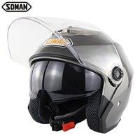 eski scooter kask xl toptan satış-SOMAN SM517 Çift Saçakları Scooter Kask Chopper Vintage Kasko Motosiklet Kask Moto Açık Yüz Kask NOKTA Onay