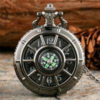 Wholesale antique compass pendant for sale - Group buy Steampunk Hollow Out Pocket Watch Alloy Case Mens Womens Quartz Analog Compass Clock with Necklace Pendant Chain