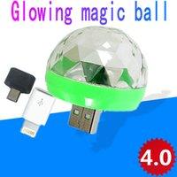 pequeño escenario de iluminación al por mayor-Nuevos ventiladores mágicos conducido control de voz del teléfono móvil de cristal USB luces de colores DJ de la etapa pequeña bola mágica creativa