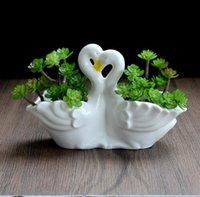 European Minimalist White Ceramic Flower Pot Hydroponics Succulent Little Swan