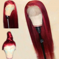 Wholesale black women burgundy human hair wigs for sale - Group buy Red Straight Lace Front Human Hair Wig X6 Deep Part Blonde Brazilian Remy Burgundy Wigs For Black Women
