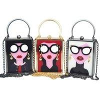 nette partygläser großhandel-Marke Luxus Weiß Acryl Abendtasche Frauen Lustige Nette Handtaschen Gläser Mädchen Kette Tageskupplung Vintage Rot Mini Party PurseMX190822