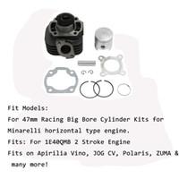 curso do kit do motor venda por atacado-Motocicleta 47mm Pistão Cilindro Big Bore Kit Set Para 70cc JOG 50 Yamaha Minarelli tipo horizontal motor 1E40QMB Motor Stroke