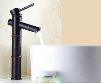 bambu musluklar toptan satış-3 Stilleri Yeni Euro Zarif Siyah Musluk Bambu Tarzı Musluk Banyo Havzası Mikser Güverte Üstü Tek Kolu Su Muslukları