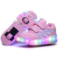 rosa led schuhe kinder großhandel-Zwei Räder leuchtende Turnschuhe Schwarz Rosa Led Licht Rollschuh Schuhe Kinder Kinder Led Schuhe Jungen Mädchen Schuhe Leuchten Unisex Y19070201