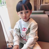 Wholesale embroidery toddler baby boy girl resale online - Toddler Kid Baby Girl Clothes New Long Sleeve Printed boys T shirt Pants Tracksuit children cotton clothes Tops