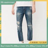 pantalones de lino de los hombres al por mayor-Jack Jones Brand Men Jeans Fasion Agujeros Algodón y Lino Slim Long Jeans para hombre Jeans rasgados para hombre   217232518 MX190718