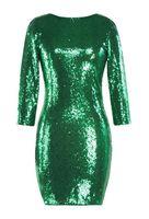 Wholesale purple sheer bags online - new ladies sequins long sleeved V neck shiny dress skirt dinner sexy bag hip slim dress