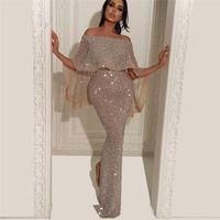 Wholesale plus size white prom dress short for sale - 2019 Arabic Cap Sleeves Sequins Mermaid Evening Dresses Split Floor Length Formal Party Prom Dresses