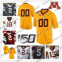 Wholesale Minnesota Golden Gophers Custom Any Number Name Stitched TH White Gray Yellow Red Tyler Johnson Seth Green NCAA Football Jersey