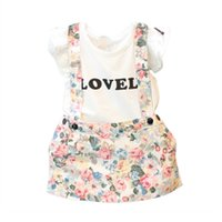tatlı kore kızı giysileri toptan satış-Bebek Kız Sevimli Mektup Baskı Elbise Tatlı Pamuk T-shirt Tops + Çiçek Baskı Etek Kıyafetleri Kore Moda Giyim SetA