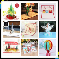 Wholesale 3d house card for sale - Group buy 3D New Year Christmas Card pop up festival Party Thanksgiving Card Christmas House Blessing Card Postcard Paper cut gift