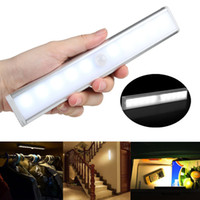 Wholesale modern bulb wall light for sale - Motion Sensor Night Light Potable LED Closet Lights Battery Powered Wireless Cabinet IR Infrared Motion Detector Wall Lamp AAA1905