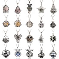 Wholesale More style Vintage Silver Essential Oil Necklace Aromatherapy Jewelry Jewelry Lockets Aromatherapy Pendant Lava Volcanic Stone