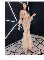 Wholesale womens backless formal dresses for sale - Group buy fly sleeve sparkle Luxury Evening Dress Lace Sequin Womens Formal Dress Long Muslim Evening Dresses Party Long Engagement Dresses