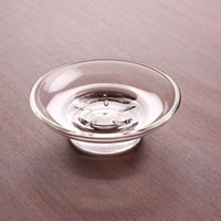 Wholesale hotel bath soaps resale online - Soap Dish Round Glass Storage Box Clear Frosted Soap Holder Home Hotel Bathroom Accessories For Shower Bath ZC0780