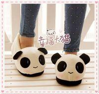 zapatillas de felpa suave de dibujos animados al por mayor-Al por mayor-Divertido de dibujos animados Panda zapatillas de invierno cálido antideslizantes suela blanda de la casa de felpa para adultos mujeres hombres animales zapatos de interior en casa