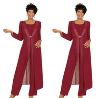 üç parça anne gelin elbisesi toptan satış-2019 Üç Parçalı Crimson Anne Gelin Pant Suits parti Törenlerinde Kat Uzunluk Örgün Konfeksiyon Kıyafet Özel Örgün Düğün Konuk Elbiseler