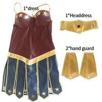 Wholesale equipment clothing resale online - Hot Halloween Cosplay Womens Bodycon Dress Wonder Woman Elbise Halloween Clothing Adult Stage Equipment Bandage Dress