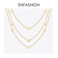 Wholesale geometric necklaces resale online - Enfashion Geometric Triangle Circle Star Choker Necklace Gold Color Necklaces Pendants Stainless Steel Necklace Women Chocker GMX190709