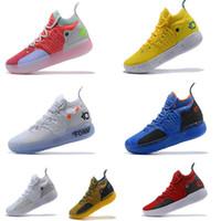 laranja sapatos de basquetebol tamanho 12 venda por atacado-2019 kd 11 ep orange espuma branca rosa paranoid oreo ice sapatos de basquete dos homens kevin durant xi kd11 tênis sapatilhas tamanho 7-12