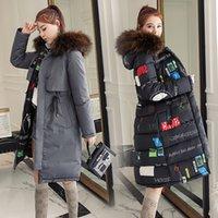 ingrosso le giacche coprono il vestito coreano-2019 nuova versione coreana imbottita con cappuccio in cotone imbottito su due lati Abito in cotone Donna Cappotti invernali di media lunghezza