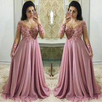 Wholesale tier dresses mother bride for sale - Group buy Dusty Pink Mother Of The Bride Dresses With Long Sleeves Sheer Jewel Neck Wedding Guest Dress Chiffon Lace Plus Size Evening Gowns