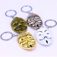 Wholesale movies rings resale online - V for Vendetta Key Chain Women Men Pendant Mask Keychain Key ring Movie Ring Holder Gifts Jewelry styles GGA2652