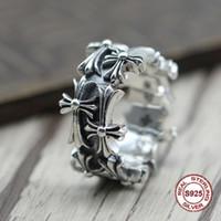 ingrosso ruotava intorno-S925 puro argento maschile anello personalità retrò Lo stile punk La croce ruota intorno al classico anello Regalo per il tuo amante