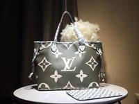 saco de badminton branco venda por atacado-Designer de luxo bolsas de couro genuíno bolsas L carta NEVERFULL bolsa de couro bolsa de impressão branca das mulheres Designer Bag M44588 Novo