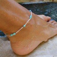 pulsera de plata turquesa al por mayor-Nueva Unique Nice Turquoise Beads Mujeres Cadena de plata Tobillera Souvenir Tobillo Pulsera Joyería del pie Nueva Venta caliente