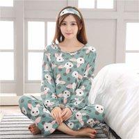 pijama desenleri toptan satış-Kadınlar için Kadın Pijama Setleri Rahat Karikatür Hayvan Desen Pijama Ev Yumuşak Yatak Odası Uzun Kollu Elbise Nefes 13xs BB