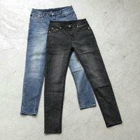 jeans vintage lavados azules para hombres al por mayor-Vintage Wash Blue / Black Jeans ajustados elásticos 2019ss Hombres Streetwear Biker Jeans