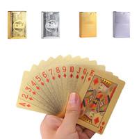 cartões de poker de folha de ouro 24k venda por atacado-Atacado folha de ouro de Poker plástico impermeável Cartões de jogo Durable 24K banhado Cartões de presente Coleção Jogos de Mesa