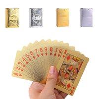 игральные карты с золотой фольгой оптовых-Оптовая Gold Foil Poker Водонепроницаемые пластиковые игральные карты Прочный 24K покрыло карты для подарков Коллекция настольных игр