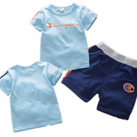Wholesale baby boys clothing sets for sale - Ins Baby Kids Clothing Sets Champions Tracksuits T shirt Side Stripe Shorts Children Sports Piece Outfits For Boys Sportswear B4251
