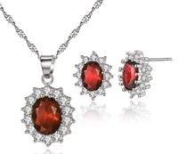 princesa rhinestone colgante al por mayor-Princesa Collar colgante de circonio y pendientes colgantes Conjuntos de joyería Pendiente y collar de diamantes de imitación de circón para los mejores regalos
