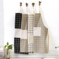 ingrosso guanti giapponesi-Guanti di grembiule di cotone e lino Aprince appeso collo mezzopunto in stile giapponese cucina casa lavoro a mezz'asta