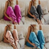 paño de noche al por mayor-Algodón Cálido Lounge Sleep Pijama Otoño Invierno Noche Desgaste Color sólido Moda mujer Felpa Fleece Pantalón largo 16 88xs hh