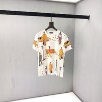 camisetas de personajes al por mayor-19ss de lujo en Europa Paris Walking Show Personajes que representan Imprimir camiseta Moda Hombres Mujeres Camiseta de Algodón de Alta Calidad Casual