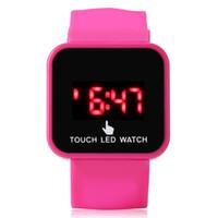 miroir de montre led tactile achat en gros de-Technologie de pointe Capteur tactile LED Montre électronique Student Mirror Finger Touch Watch Montre électronique