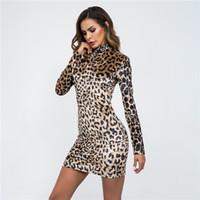 ingrosso vestito lungo del manicotto due colori-Abito Sexy all'ingrosso sKirt Manica lunga Tight Camouflage Lattice Colletto in piedi Autumn Leopard Print Two Colors