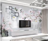 flores pintadas para paredes chinesas venda por atacado-WDBH 3d foto papel de parede personalizado mural de flores e pássaros pintados à mão estilo chinês decoração da sala 3d murais de parede papel de parede para paredes 3 d