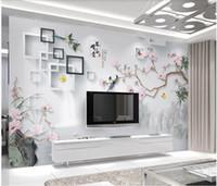 ingrosso carte da parati per uccelli per soggiorno-WDBH 3d photo carta da parati murales personalizzato in stile cinese fiori e uccelli dipinti a mano decorazione del salone 3D murales wallpaper per pareti 3 d