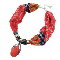 Wholesale flowers wrap for sale - Group buy New Geometric Beads pendant Necklaces Printing Flowers Pattern Wrap Chiffon Statement Scarf Necklace For Women Bohemian Jewelry scarves