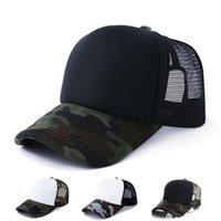 erkekler boş şapka toptan satış-Kamuflaj Kamyon Şoförü Kapaklar Boş Beyzbol Örgü Şapka Ayarlanabilir Snapbacks Yetişkinler Için Mens Ve Womens Güneş Şapka