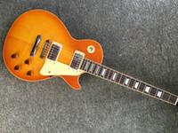 reliure guitare érable achat en gros de-Guitare électrique de qualité supérieure avec reliure à la frette Guitare monocouche corps et manche couleur érable flammé