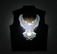 ingrosso maglia del mens del denim-Mens Black Denim Motorcycle VEST Patch ricamate distintivo Skull Eagle Biker Giacche senza maniche luminoso